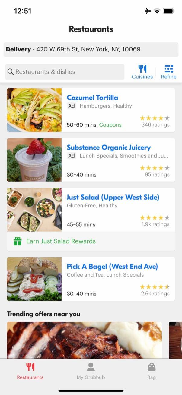 restaurantes en la aplicación grubhub