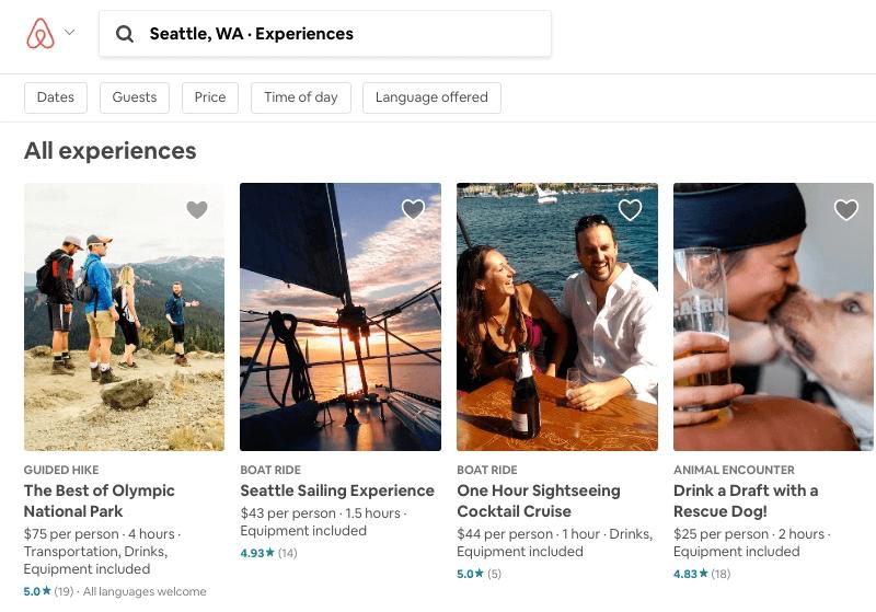 Experiencias Airbnb: Experimente los resultados de búsqueda en Seattle con Airbnb
