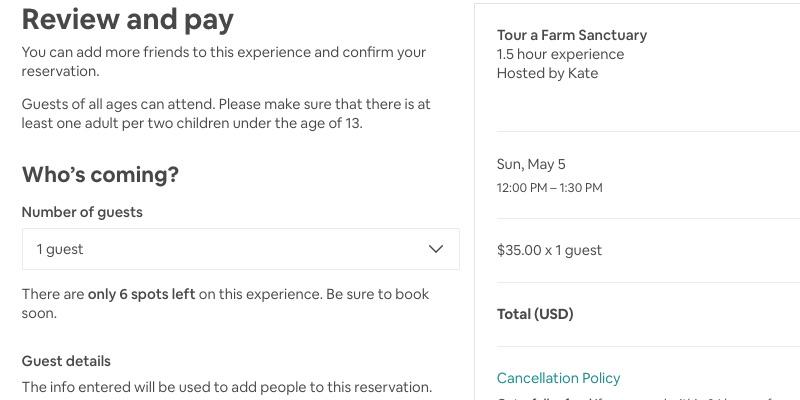 Experiencias Airbnb: la página de pago cuando reservas una experiencia