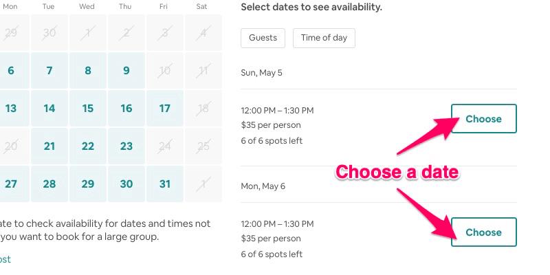 """Experiencias Airbnb: el """"Escoger"""" botón para reservar una experiencia"""
