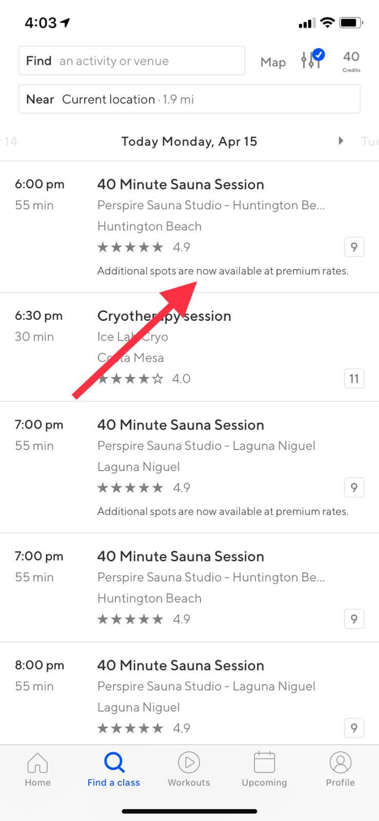 Preguntas frecuentes de ClassPass: captura de pantalla de una clase con tarifas premium
