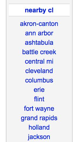 Explore las áreas de venta de Craigslist a su alrededor