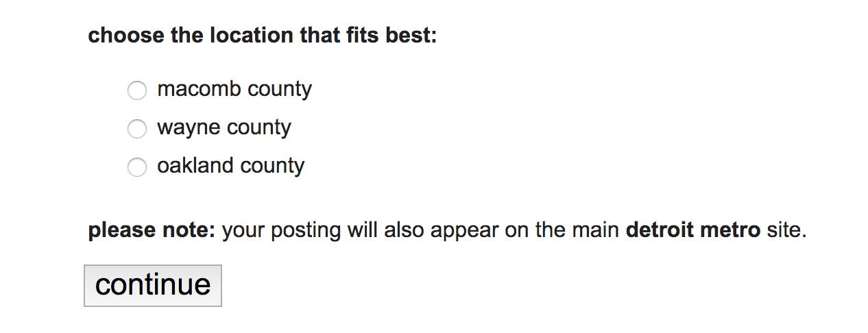 Cómo publicar en Craigslist: Elija un condado