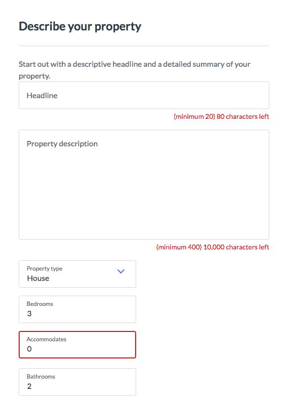 Captura de pantalla de la descripción de la propiedad de VRBO del formulario de registro