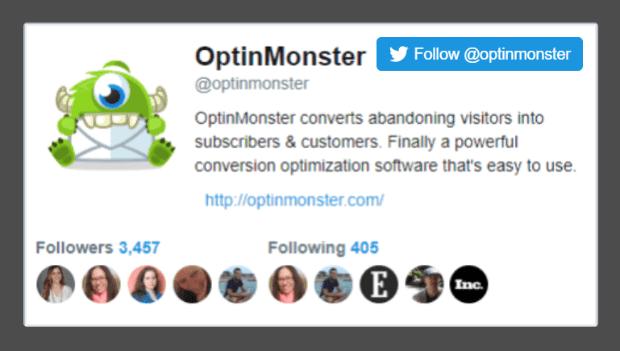 crear una ventana emergente Síguenos en Twitter