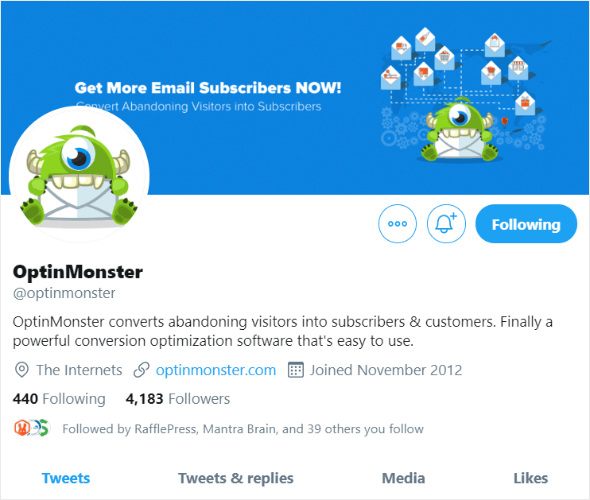 perfil de twitter de optinmonster