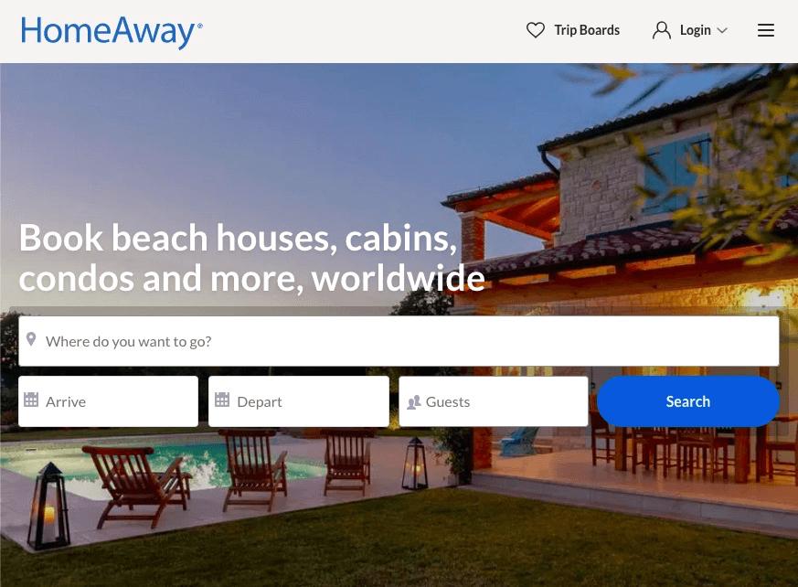 HomeAway VRBO: página de inicio del sitio web de HomeAway