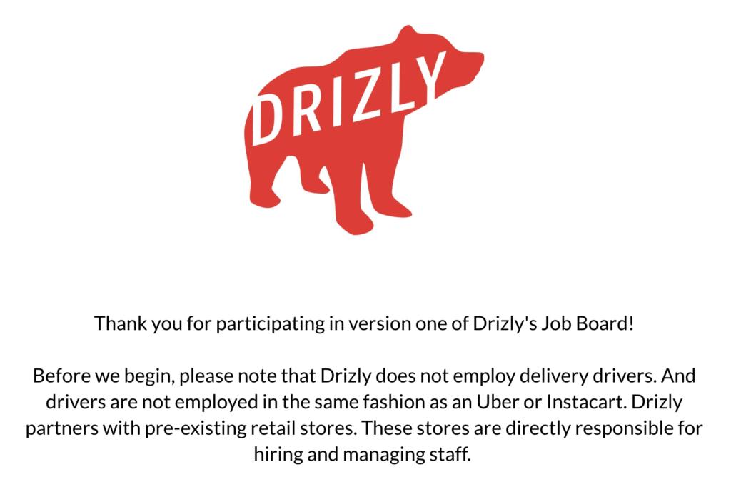 Aviso de Drizly sobre la contratación de conductores