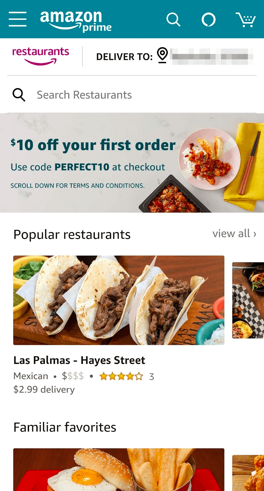 Página de inicio de Amazon Restaurant