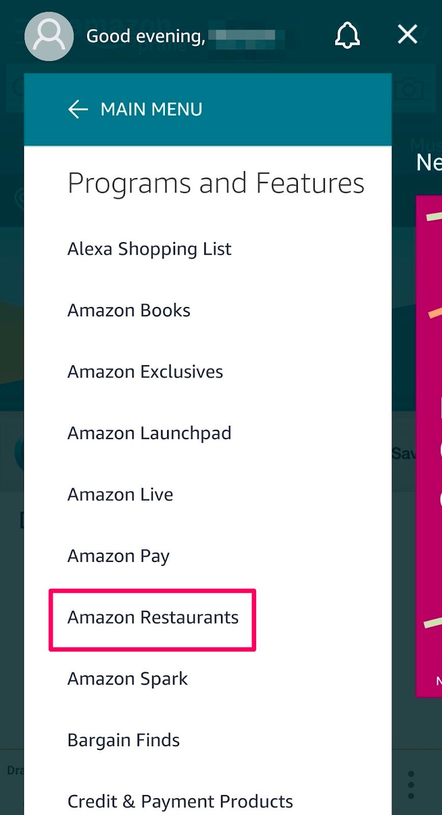 Carta del restaurante Amazon