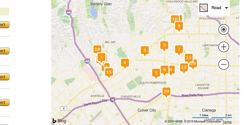 Resultados del mapa de ubicaciones de Amazon Locker