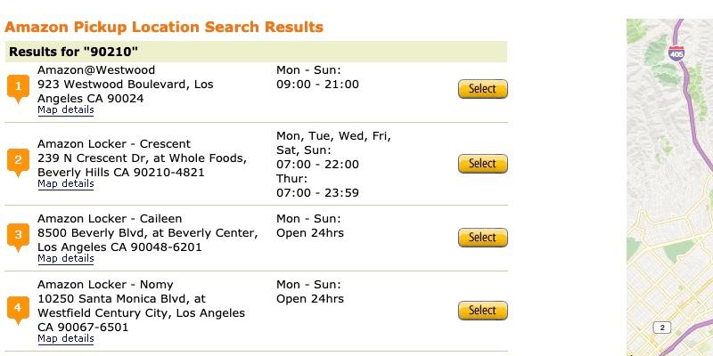 Resultados de búsqueda de ubicaciones de Amazon Locker