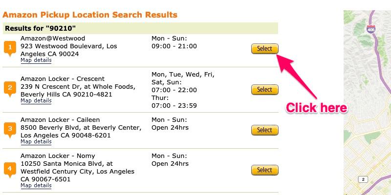 Seleccione la ubicación de Amazon Locker