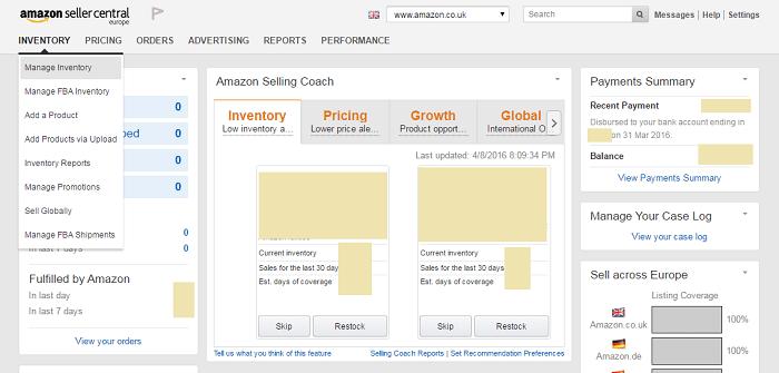 Página de inicio del vendedor de Amazon
