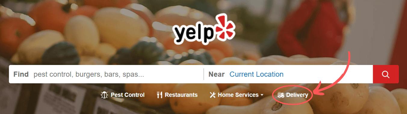 Captura de pantalla de la barra de búsqueda de Yelp